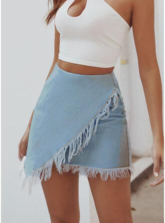 Cotton Blends Plain Above Knee Pencil Skirts