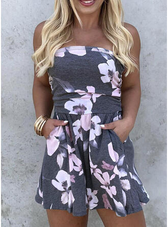 Floral Print Strapless Sleeveless Casual Vacation Sexy Romper