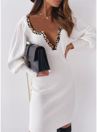 Solid Leopard V-Neck Casual Long Tight Sweater Dress