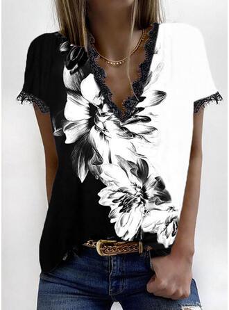 Color Block Floral Print Lace V-Neck Short Sleeves T-shirts