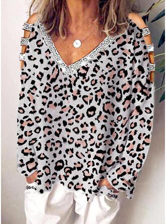 Pailletten luipaard Cold Shoulder Lange Mouwen Casual Overhemd