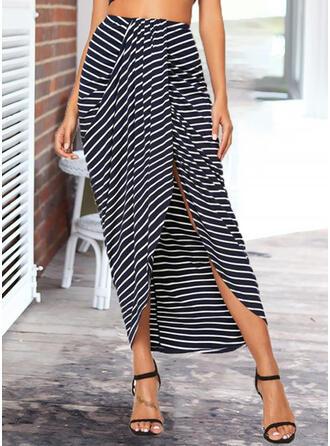 Knitting Striped Mid-Calf High-Slit Skirts Asymmetrical
