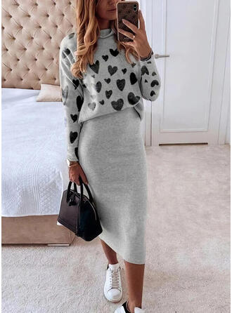 Print/Heart Long Sleeves Bodycon Casual Midi Dresses
