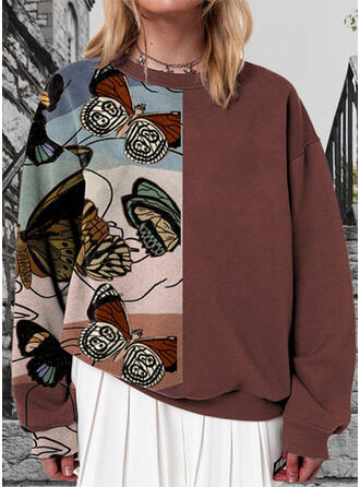 Print Color Block Butterfly Round Neck Long Sleeves Sweatshirt