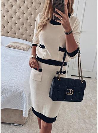 Color Block Knit Long Sleeves Sheath Above Knee Casual/Elegant Sweater Dresses