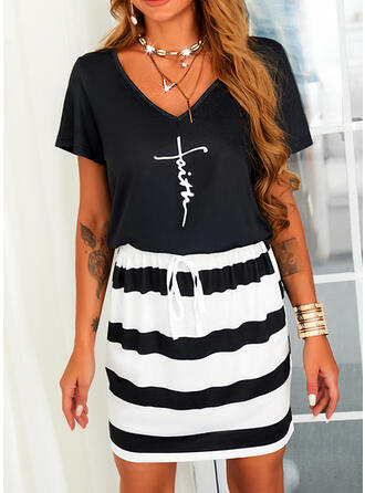 Print/Striped/Letter Short Sleeves Sheath Above Knee Casual Dresses