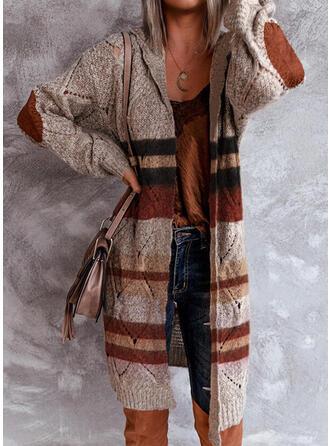 Kleurblok Gestreept Met capuchon Casual Lang Vest