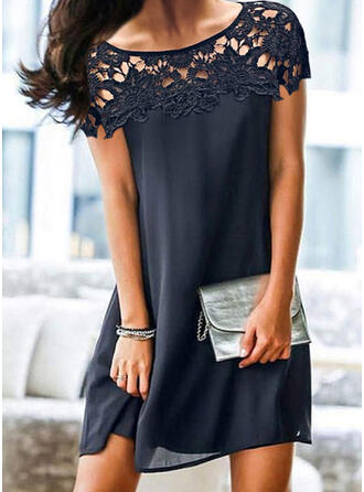 Lace/Solid/Hollow-out Short Sleeves Shift Above Knee Elegant Dresses