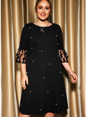 Solid 3/4 Sleeves Shift Knee Length Party/Plus Size Dresses
