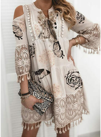 Floral/Animal Print/Tassel 3/4 Sleeves Shift Above Knee Casual/Vacation Tunic Dresses