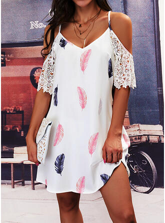 Print Lace Short Sleeves Cold Shoulder Sleeve Shift Above Knee Casual Tunic Dresses
