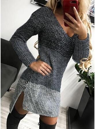 Kleurblok Kabel-gebreid V-hals Casual Lang Slanke Sweaterjurk