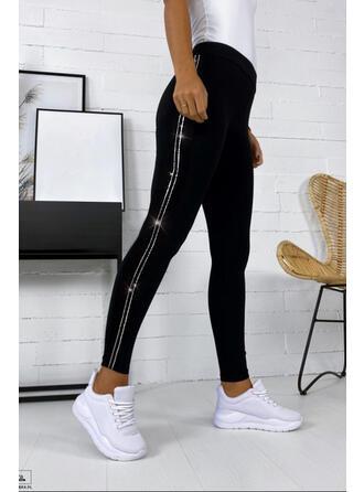 Striped Sequins Long Casual Plus Size Leggings