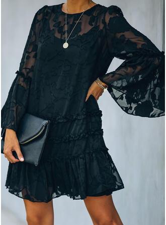 Kant/Solide Lange Mouwen/Flare Mouwen Shift Boven de knie Zwart jurkje/Casual/Elegant Jurken