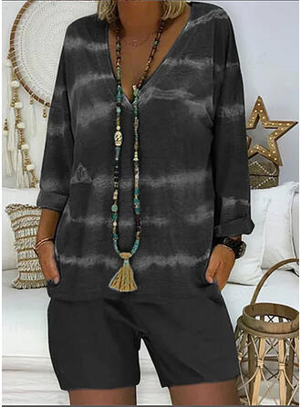 Tie Dye Casual Plus Size Blouse & Two-Piece Outfits Set