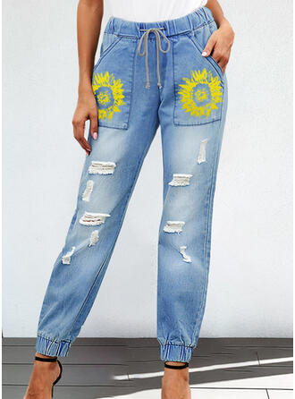 Floral Ripped Drawstring Boho Casual Denim & Jeans