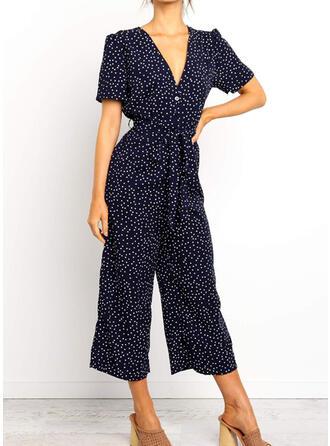 Print V-Neck Short Sleeves Casual Elegant Jumpsuit