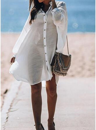 Effen kleur V-hals retro Casual Geweldig Badjassen Badpakken