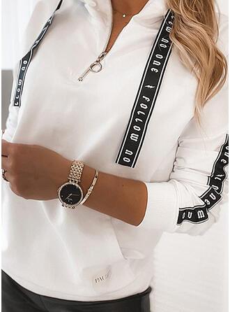 Print Figure Lapel Long Sleeves Sweatshirt