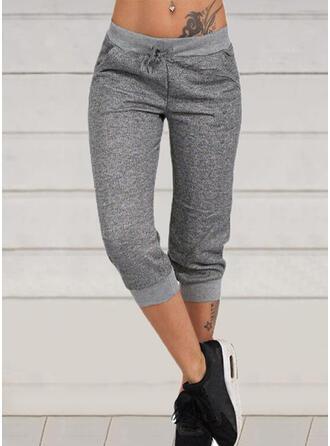 Solid Capris Casual Sporty Drawstring Pants Lounge Pants