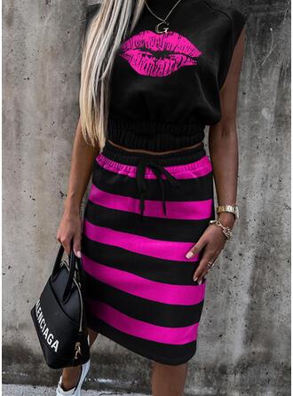 Striped Print Casual Plus Size Camisole & Suits Set