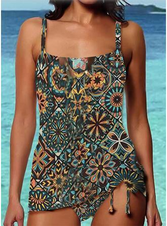 Strap U-Neck Vintage Boho Tankinis Swimsuits