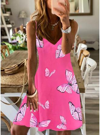 Print/Animal Sleeveless Shift Above Knee Casual/Vacation Slip Dresses