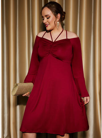 Solid Long Sleeves A-line Knee Length Party/Plus Size Skater Dresses
