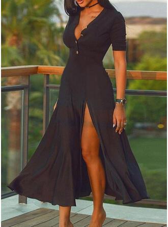Solid Short Sleeves A-line Skater Little Black/Casual Midi Dresses