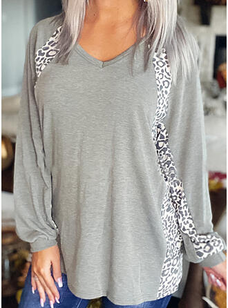 luipaard V-hals Lange Mouwen Casual T-shirts
