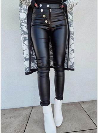 Solid PU Long Casual Sexy Plus Size Button Pants