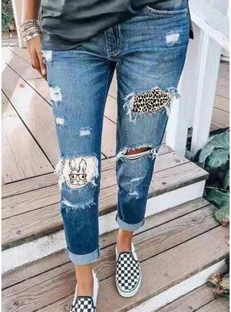 Shirred Ripped Leopard Tribal Vintage Denim & Jeans