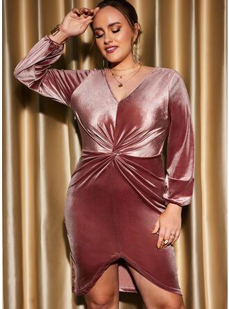Solid Long Sleeves Lantern Sleeve Sheath Knee Length Party/Plus Size Dresses