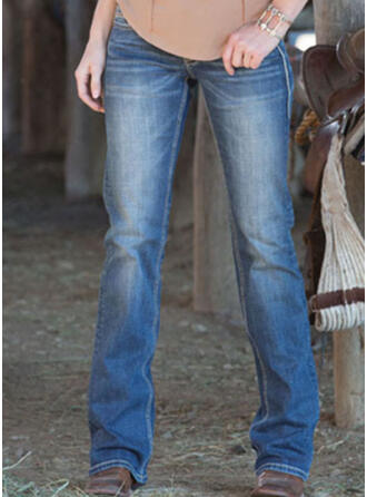 Shirred Plus Size Long Elegant Plain Denim & Jeans