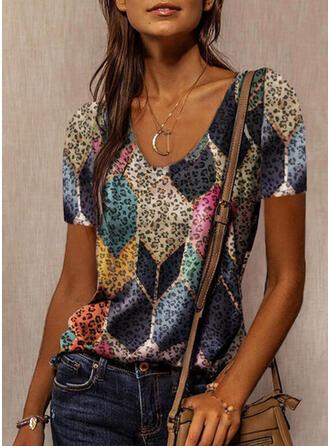 Leopard Geometric Print Round Neck Short Sleeves T-shirts