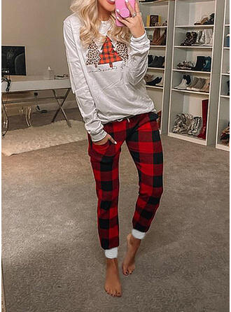 Plaid Print Christmas Casual Sporty Suits