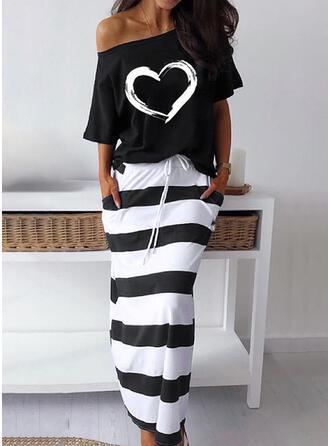 Print/Striped/Heart Short Sleeves Sheath Casual Midi Dresses