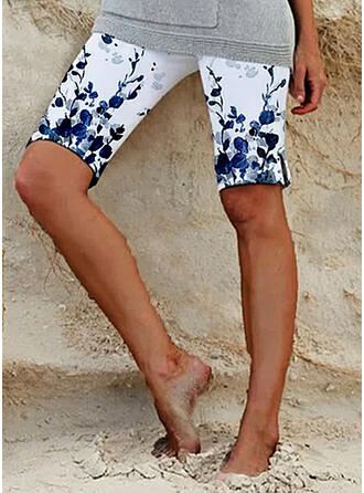 Print Above Knee Casual Plus Size Shorts