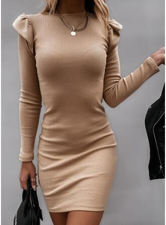 Solide Lange Mouwen/Pof Mouwen Bodycon Boven de knie Zwart jurkje/Elegant Trui Jurken