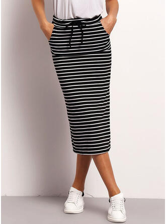 Knitting Striped Maxi Pencil Skirts